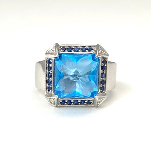 18K White Gold Topaz Ring with Sapphires and Diamonds