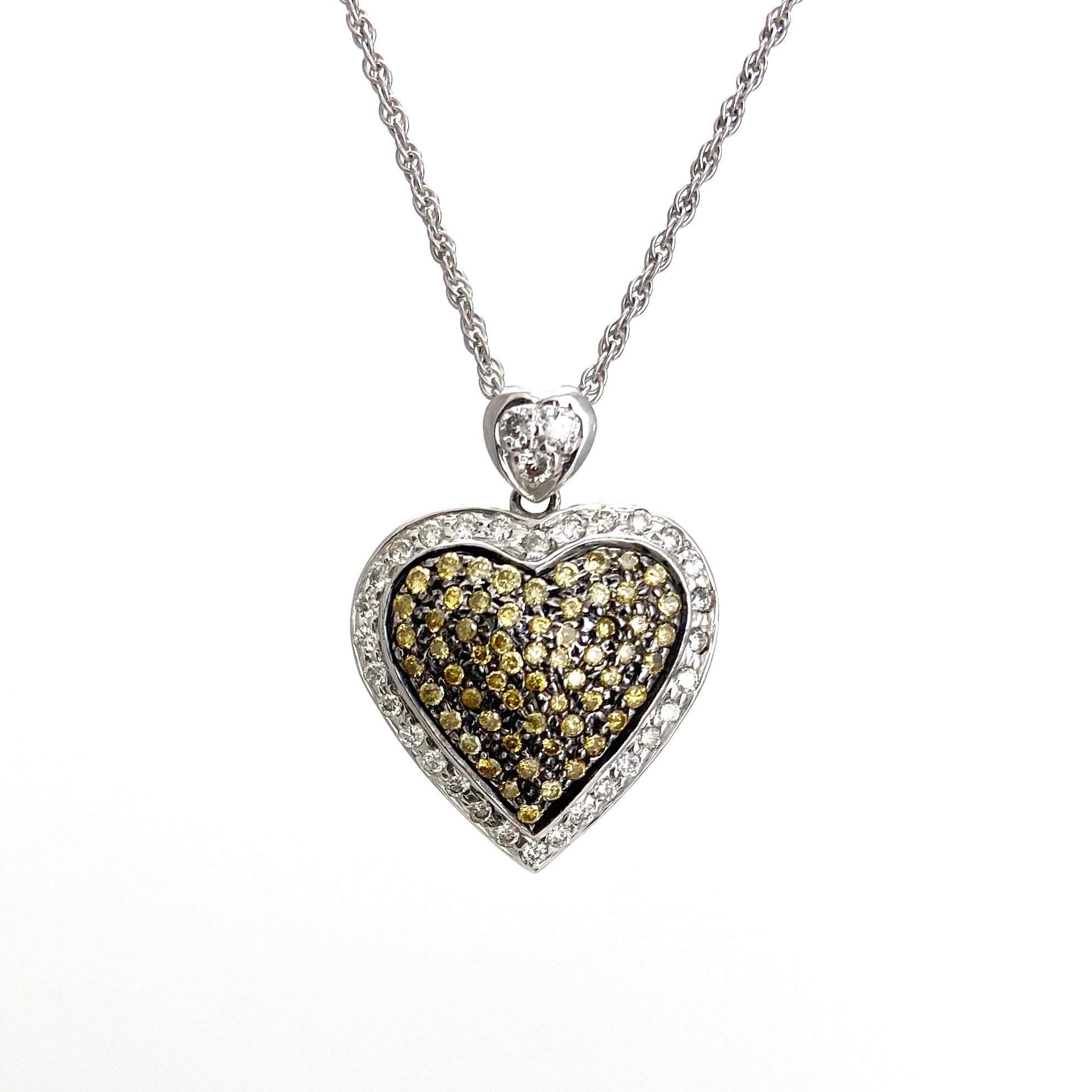 18K White and Yellow Gold Diamond Heart Pendant with 18K Chain