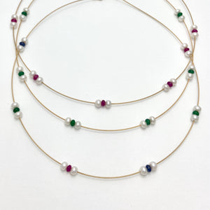18K Yellow Gold Wire Necklace with Natural Gemstone Beads, 3 Variants
