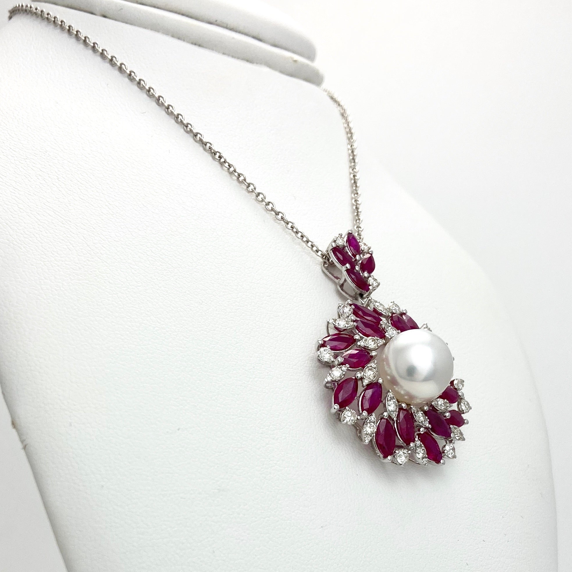 18K White Gold Chain & Pendant with Pearl, Diamonds and Rubies