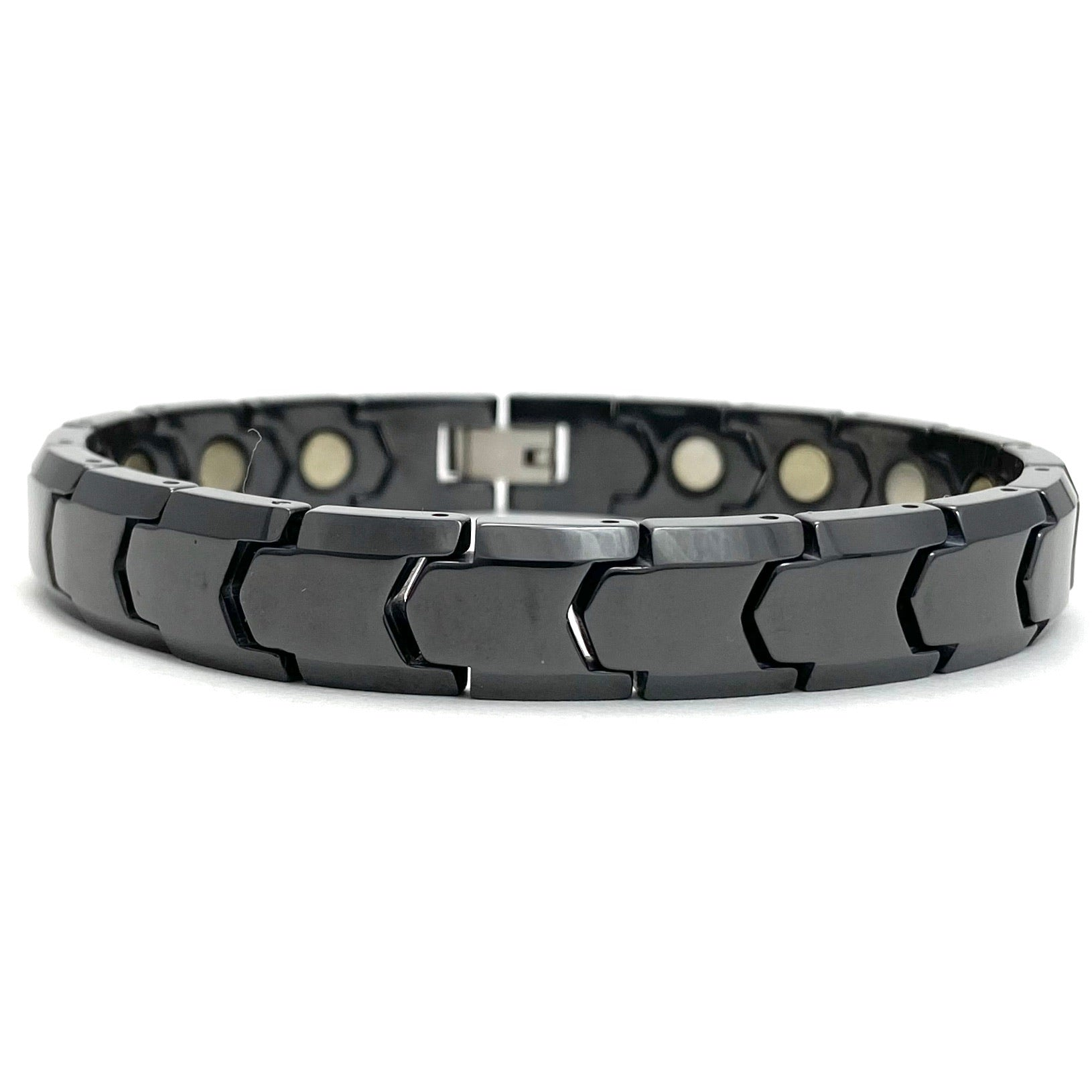 Men's Dark Grey Stainless Steel Magnetic Therapy Bracelet
