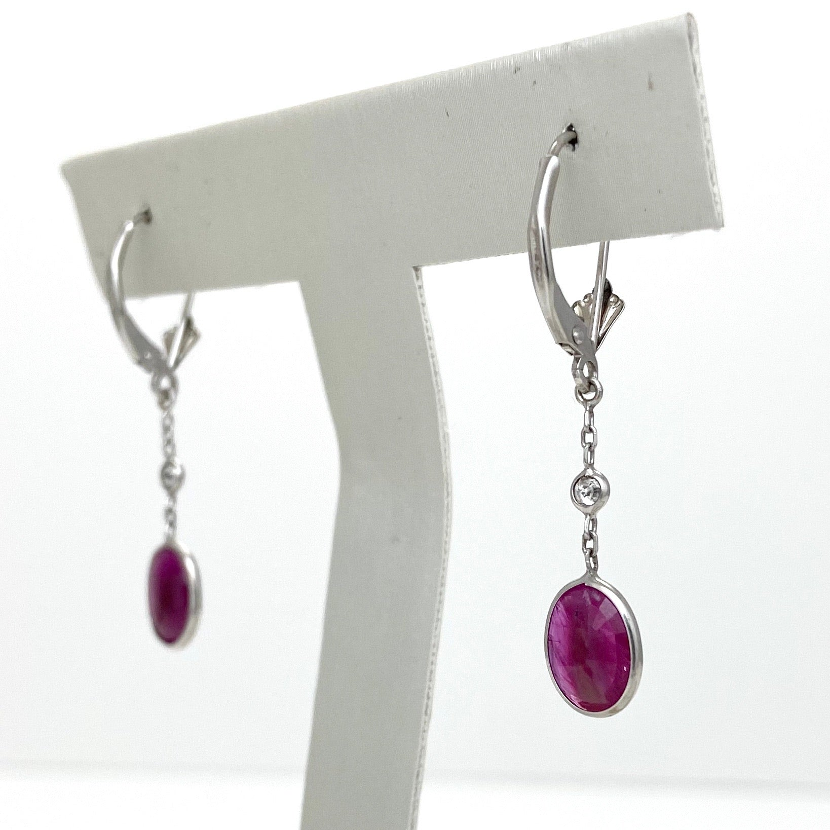 14K White Gold Drop Earrings with Rubies and Diamonds
