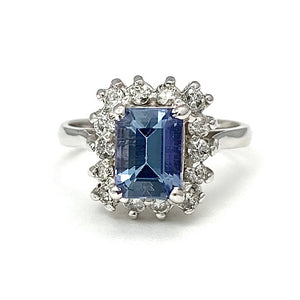 14K White Gold Square Cut Tanzanite Ring with Diamonds