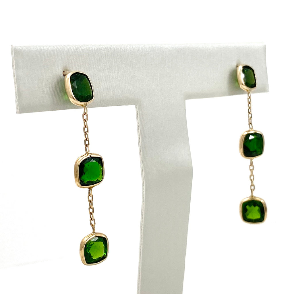 14K Yellow Gold Bezel Drop Earrings with 6 Carats of Diopside