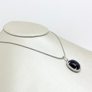 14K White Gold Blue Star Sapphire Necklace with Diamonds