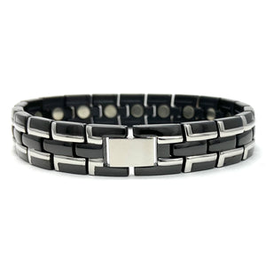 Men's Black with Silver Stainless Steel Magnetic Therapy Bracelet