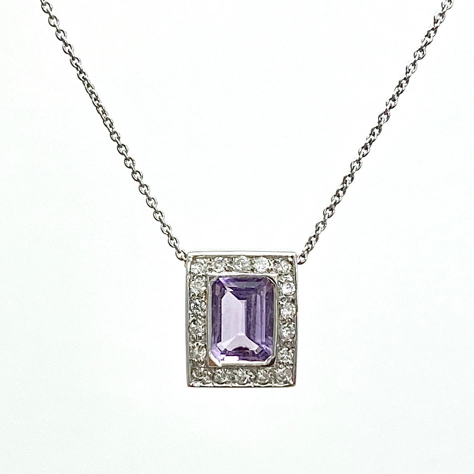 14K White Gold  Amethyst and Diamonds Pendant with 18K Chain