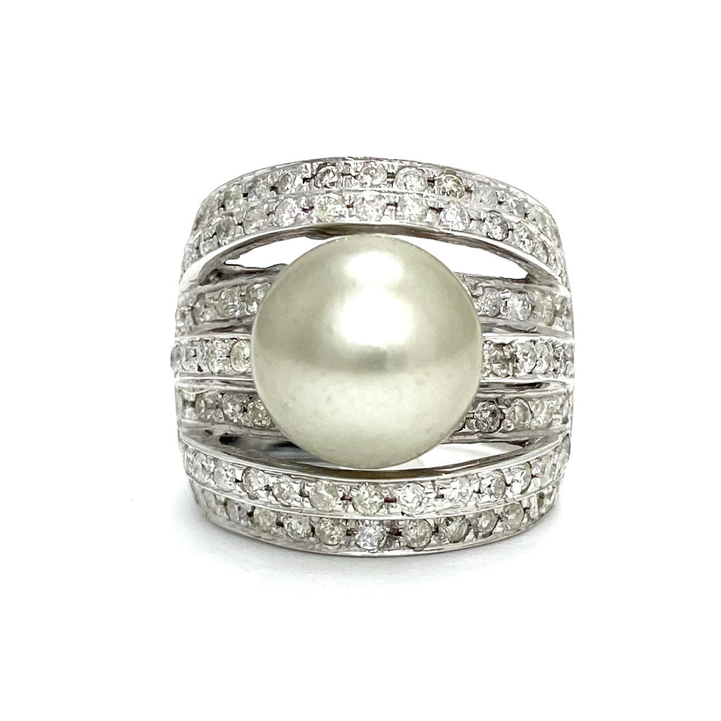 14K White Gold Modern Grey South Sea Pearl and Diamond Ring