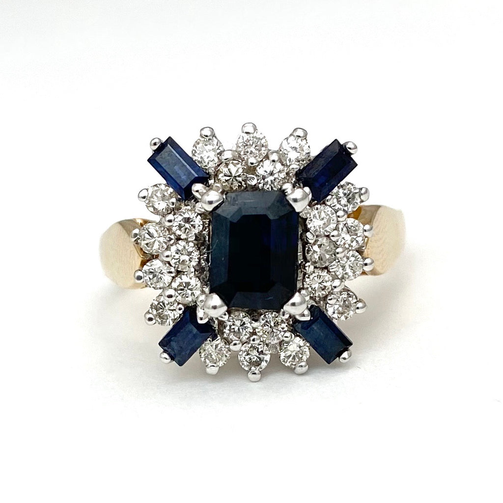 14K White and Yellow Gold Ring with a Sapphire and Diamonds