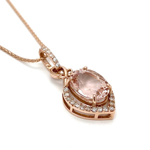 14K Rose Gold Pendant and Chain with Morganite and Diamonds