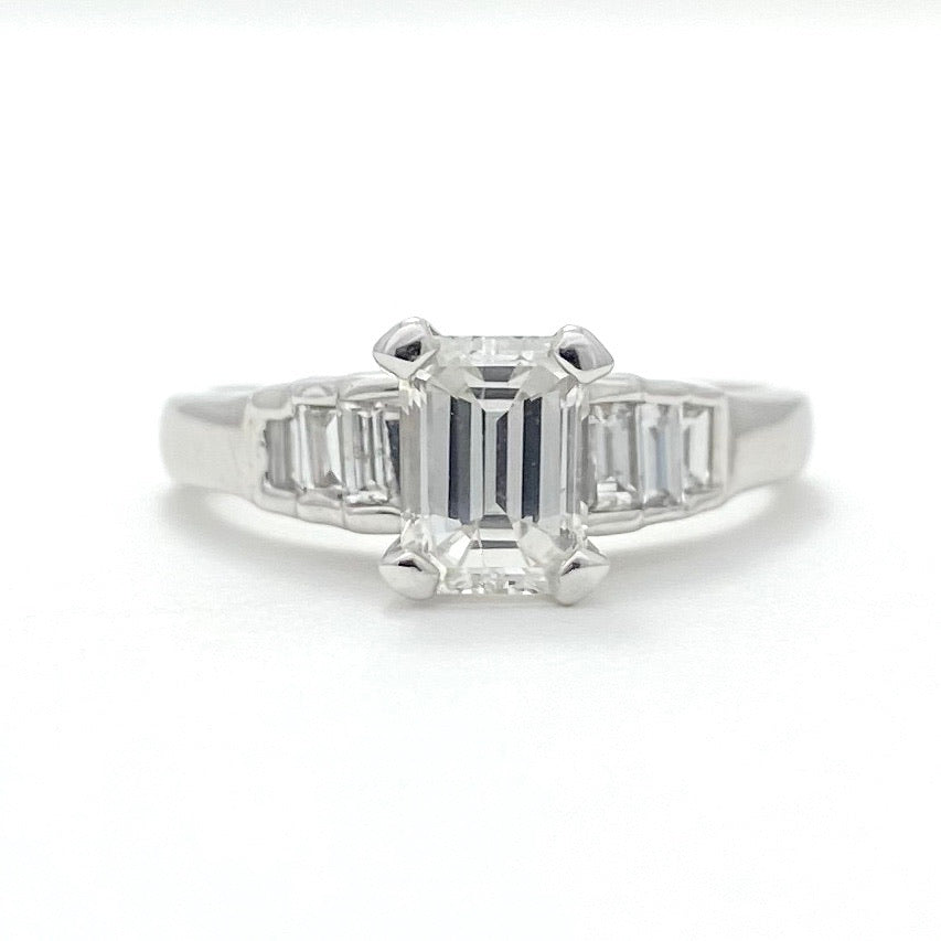 14K White Gold 1 Carat Emerald Cut Diamond Engagement Ring