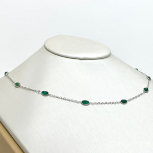 10K White Gold Necklace with Natural Emeralds