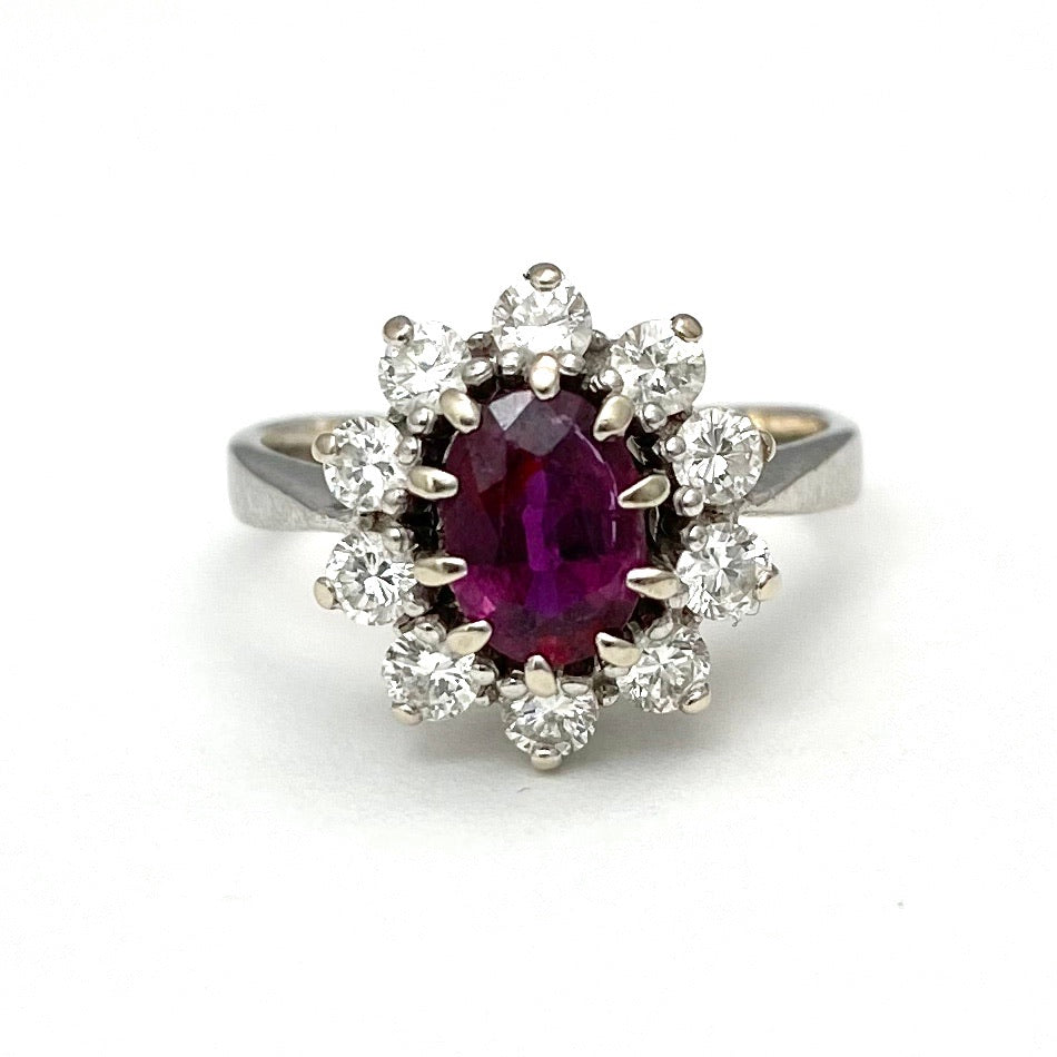 14K White Gold Ring with a Garnet Center and Diamonds