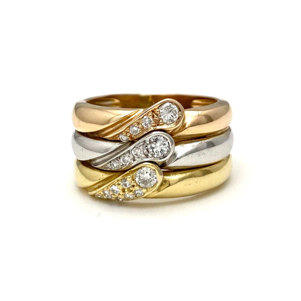 18K Yellow, White and Rose Gold Triple Band Ring