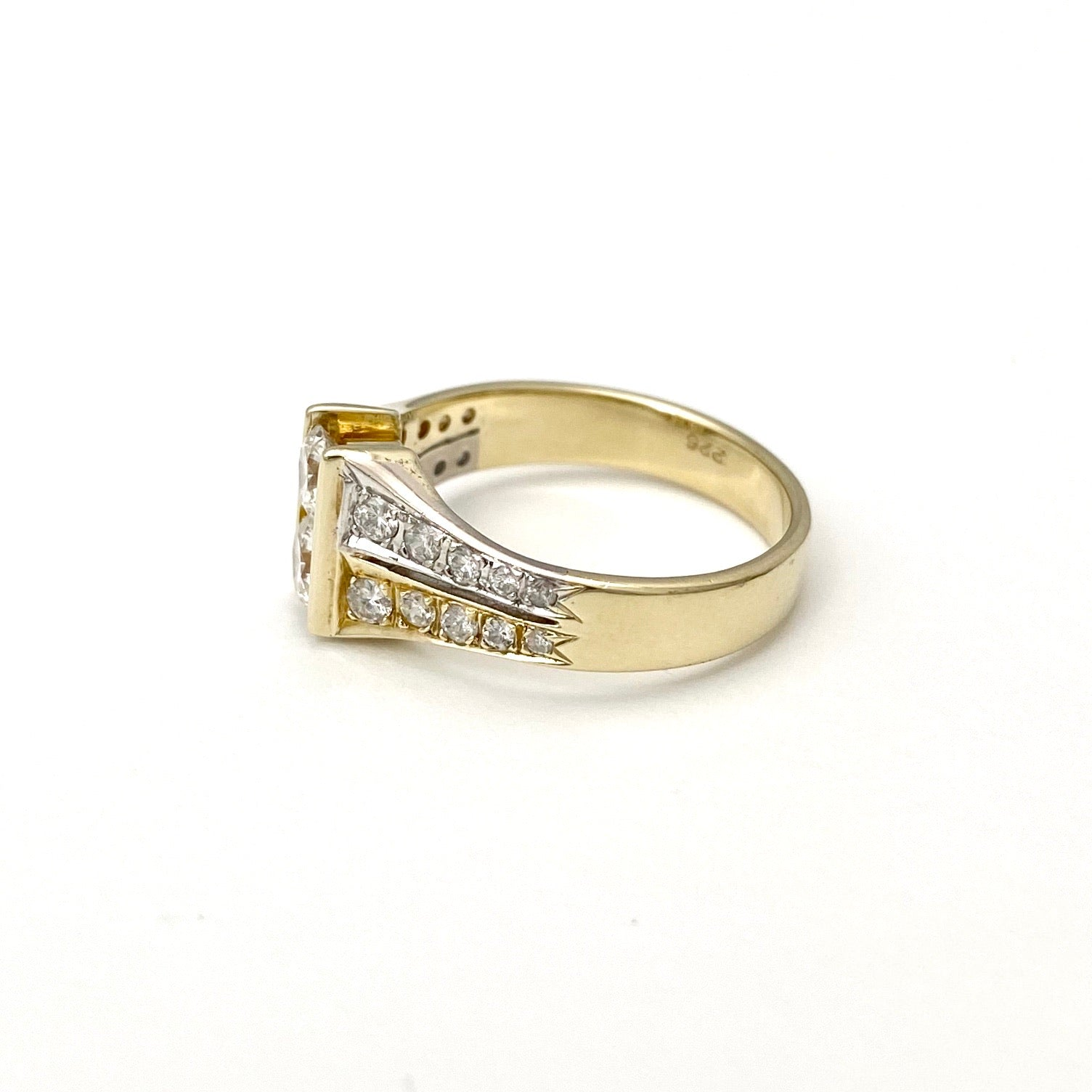 14K Yellow Gold Fancy Design Diamond Cocktail Ring