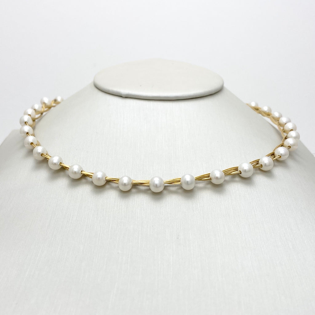 18K Yellow Gold Braided Necklace with Cultured Pearls