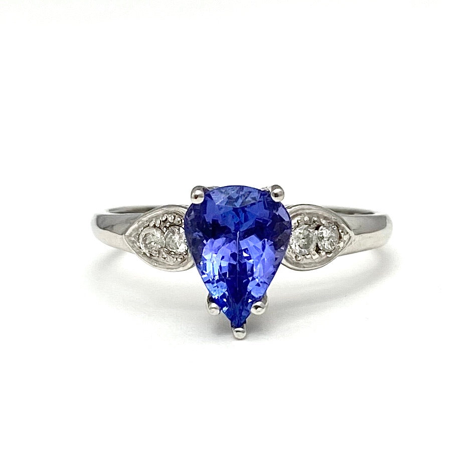 10K White Gold Pear Cut Violet Tanzanite and Diamond Ring
