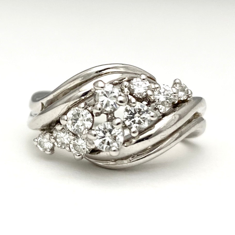 14K White Gold Ring with 10 Round Brilliant Cut Diamonds