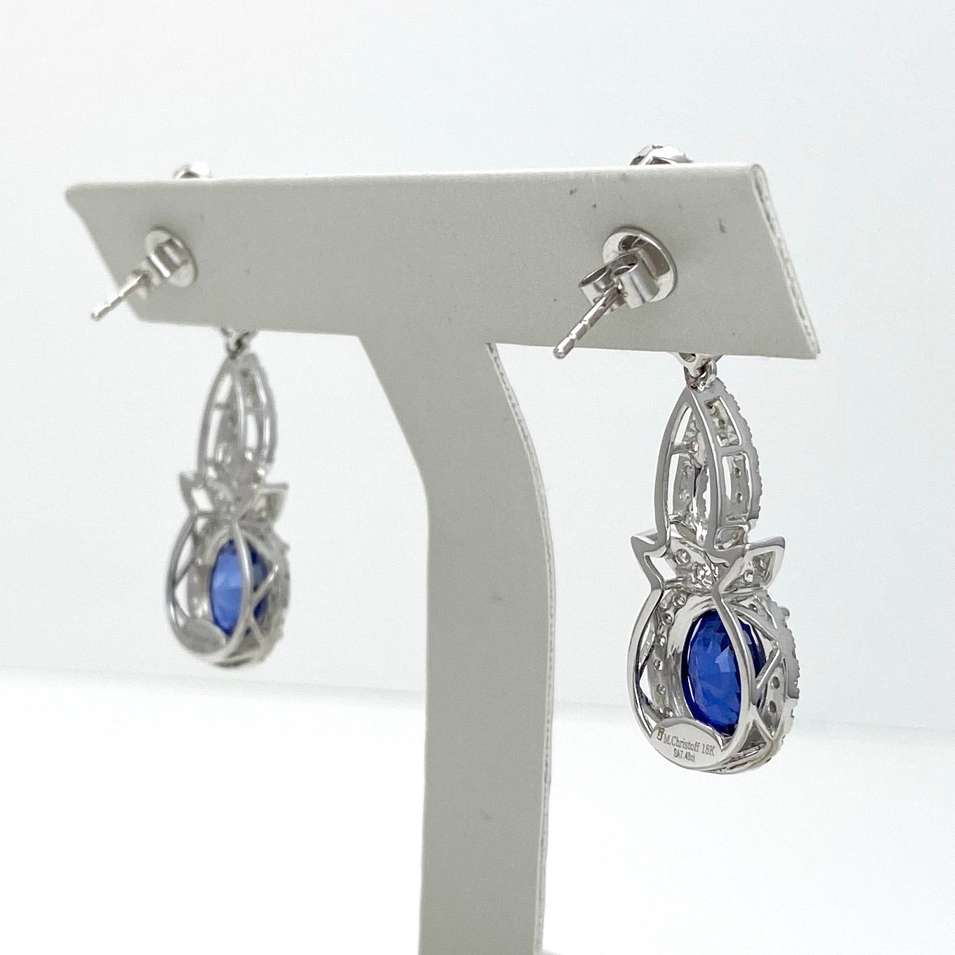 18K White Gold Drop Earrings with Blue Sapphires and Diamonds