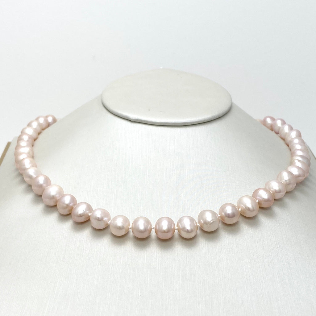 14K Gold Necklace with Light Pink Cultured Pearls