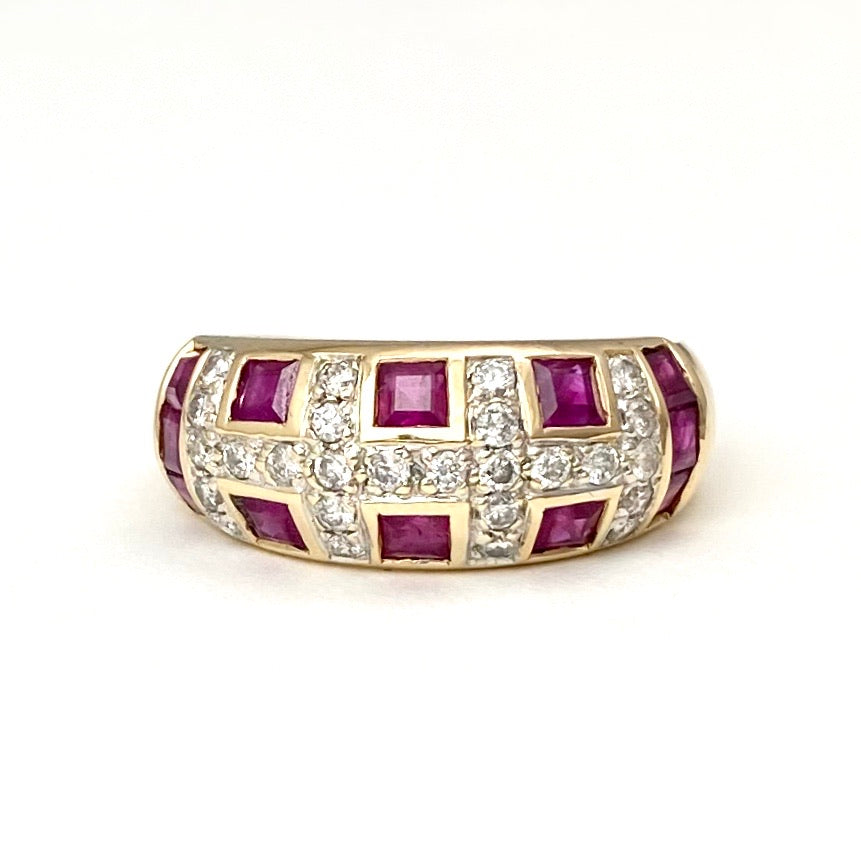 14K Yellow Gold Fancy Design Rubies and Diamonds Cocktail Band