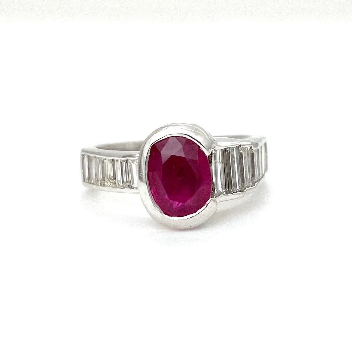 Custom Platinum Modern Design Ruby Ring with Diamonds