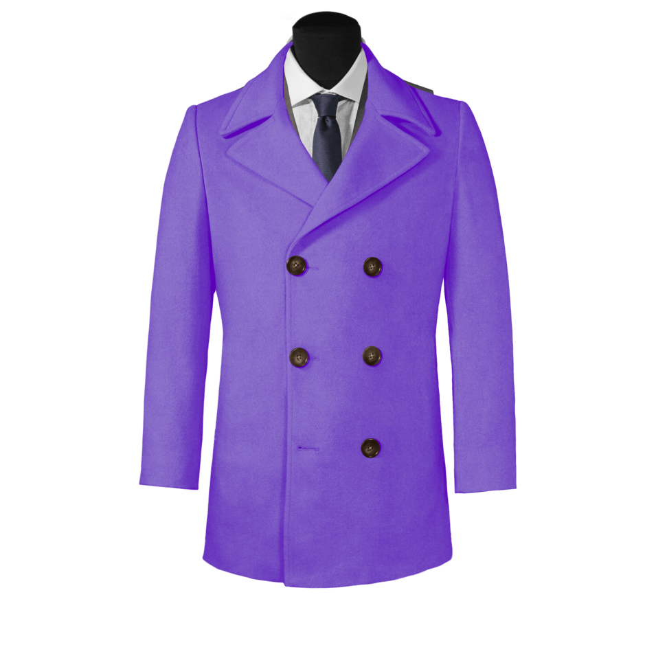 Men's Custom Made to Order 100% Wool 6 on 3 Long Pea Coat - Choice of Styles, fabrics