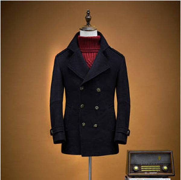 Mens Premium Woolen Peacoat - Navy Blue-Peacoats-black-M-Dappergeddon menswear dandy