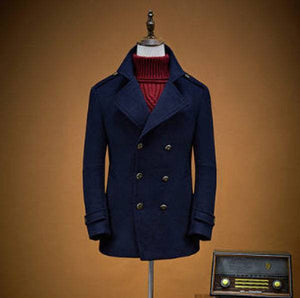 Mens Premium Woolen Peacoat - Navy Blue-Peacoats-navy blue-M-Dappergeddon menswear dandy