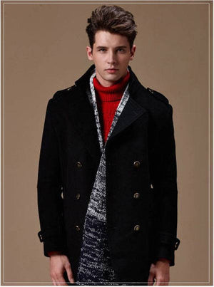 Mens Premium Woolen Peacoat - Navy Blue-Peacoats-Dappergeddon menswear dandy