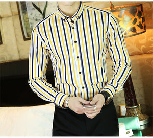 Mens Casual Slim Fit Cotton Blend Yellow/Blue Multi Stripe Shirt - 6 styles