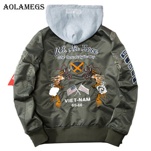 "Men's Detachable Hood Harajuku Style Embroidered Bomber Jacket - ""US Air Force Viet-Nam"" - 3 colours"