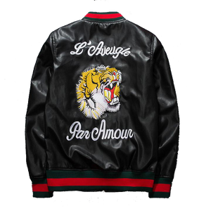 Mens Womens Embroidered PU Leather Bomber Jacket - French Tiger