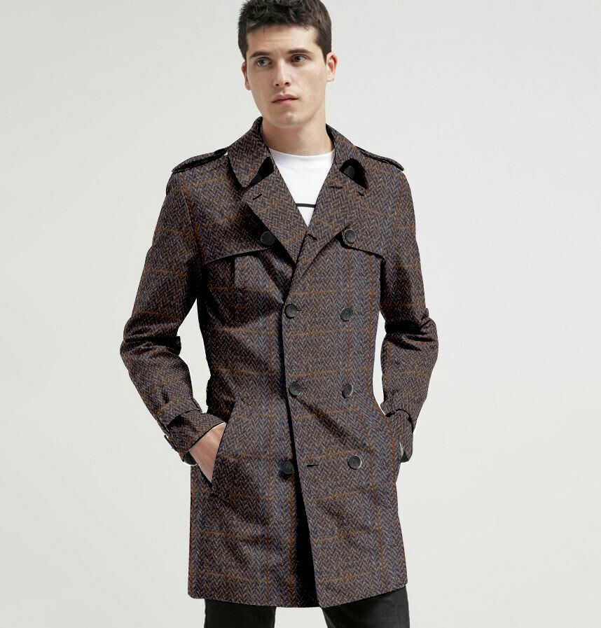 new release best price 60% discount Men's Custom Made to Order 100% Harris Tweed Double Breasted Trench Coat
