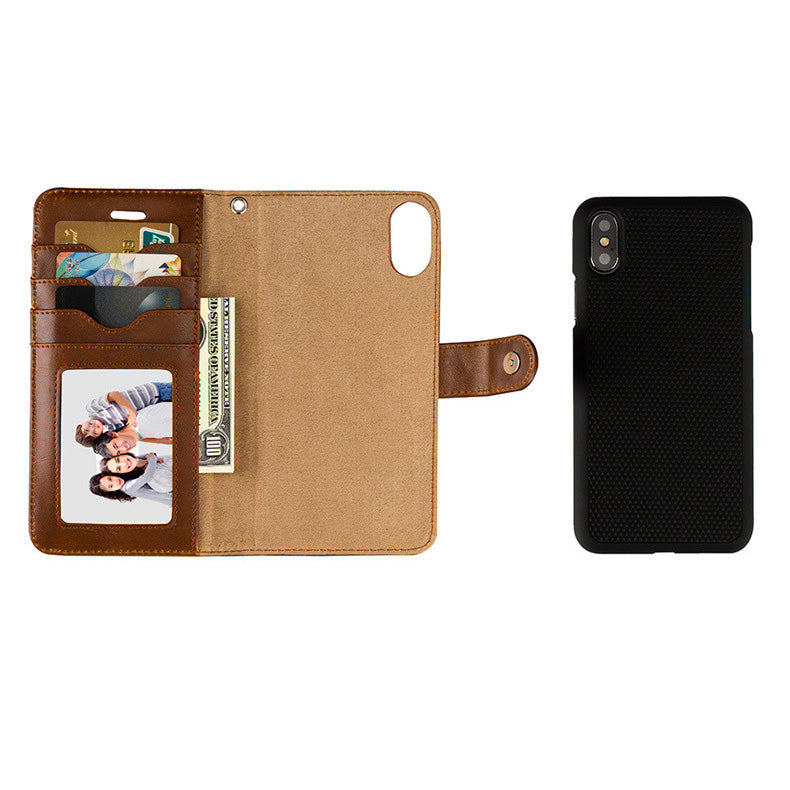 Genuine leather magnet separable wallet iPhone X/10 case