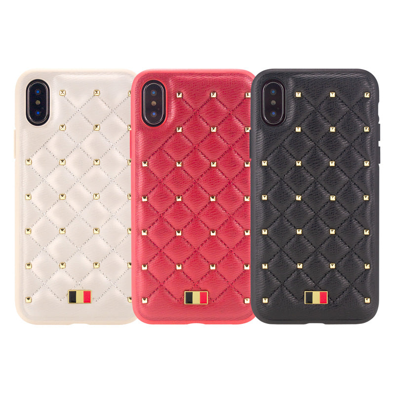 reputable site cf341 e1867 MENTOR® Leather Fashion CHANEL style Stitched Clinch Bolts iPhone XS MAX  Case 6.5