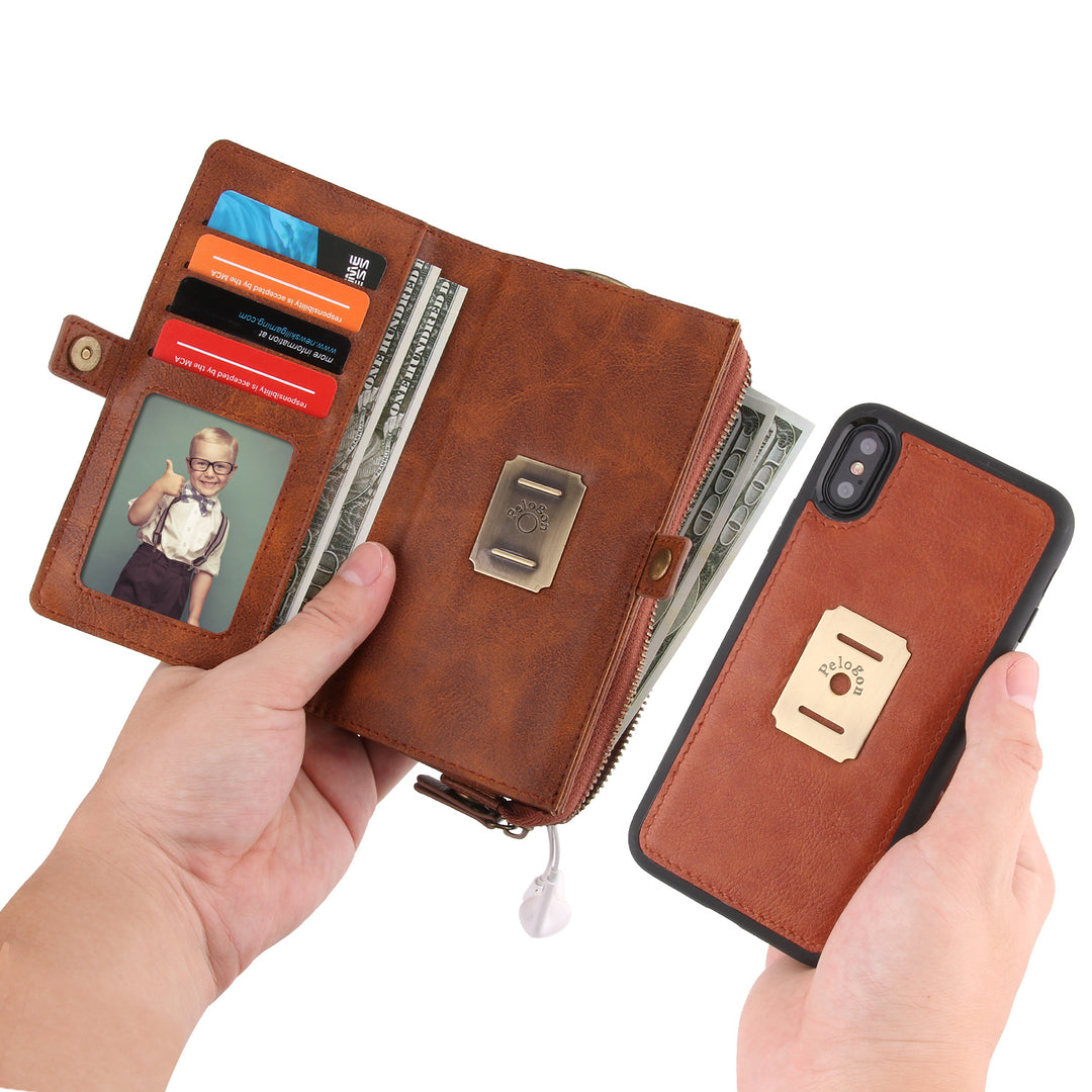 Genuine Leather Magnet Detachable wallet with 4 card slot iPhone X/10 Case