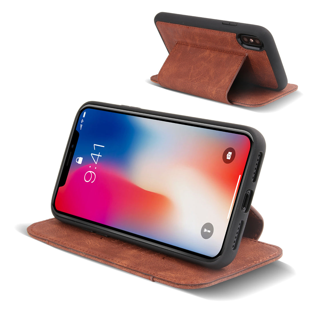 Genuine Leather Simple Folio Card slot iPhone XS Case 5.8""