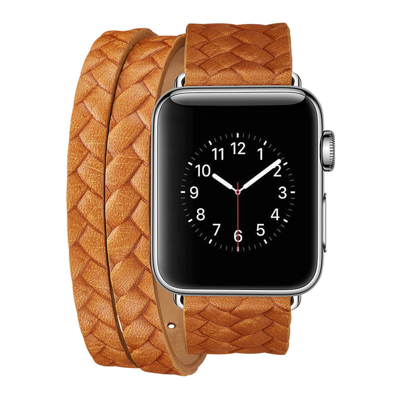 iicase-australia_Genuine Leather Woven Pattern Apple Watch Band Doule Tour