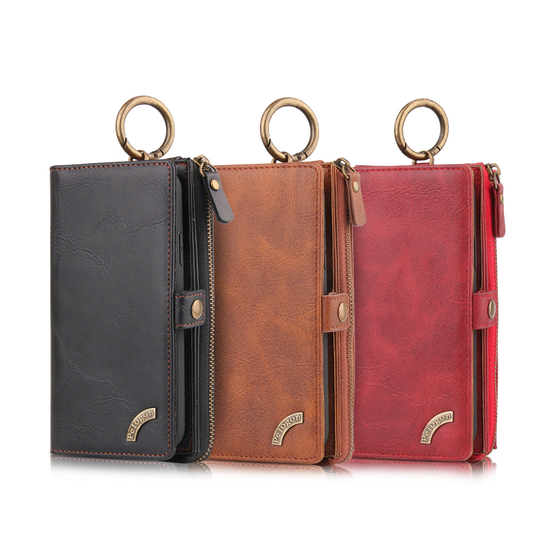 Genuine Leather Magnet Detachable wallet with 4 card slot iPhone XS Case 5.8""