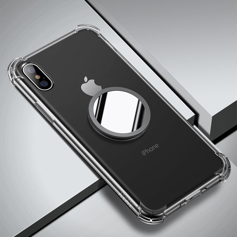 online store 60235 68d20 Transparent Protection TPU with mirror kickstand iPhone X Case 5.8