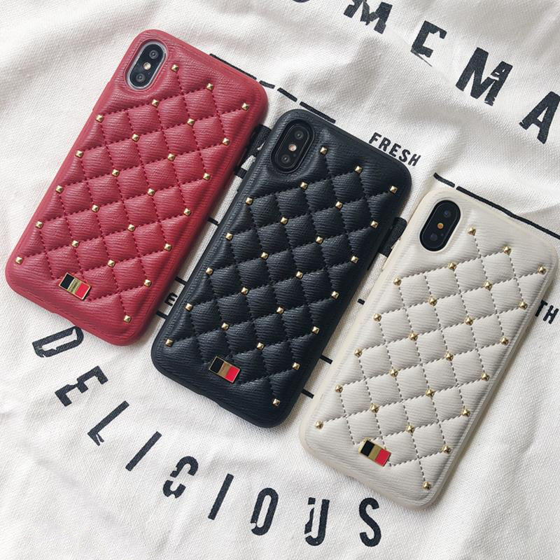 quality design 8404d 59f58 MENTOR® Leather Fashion CHANEL style Stitched Clinch Bolts iPhone X Ca
