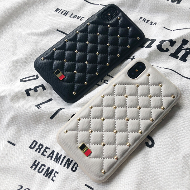 quality design 6d1e0 014d0 MENTOR® Leather Fashion CHANEL style Stitched Clinch Bolts iPhone X Ca