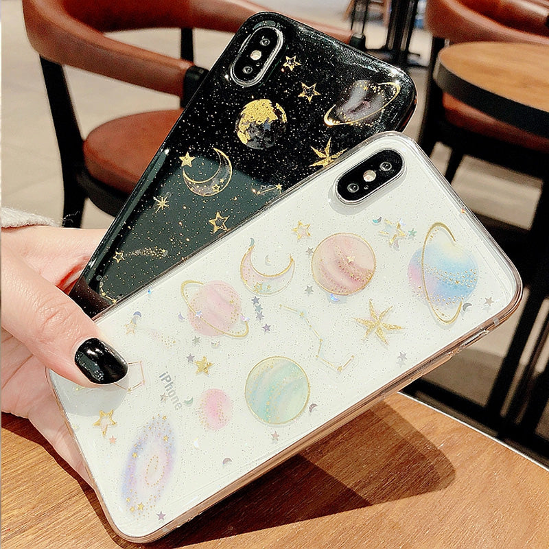 Universal Planet and Star Transparent Iphone 7 Plus 5.5 inch Case with Metal Decotration