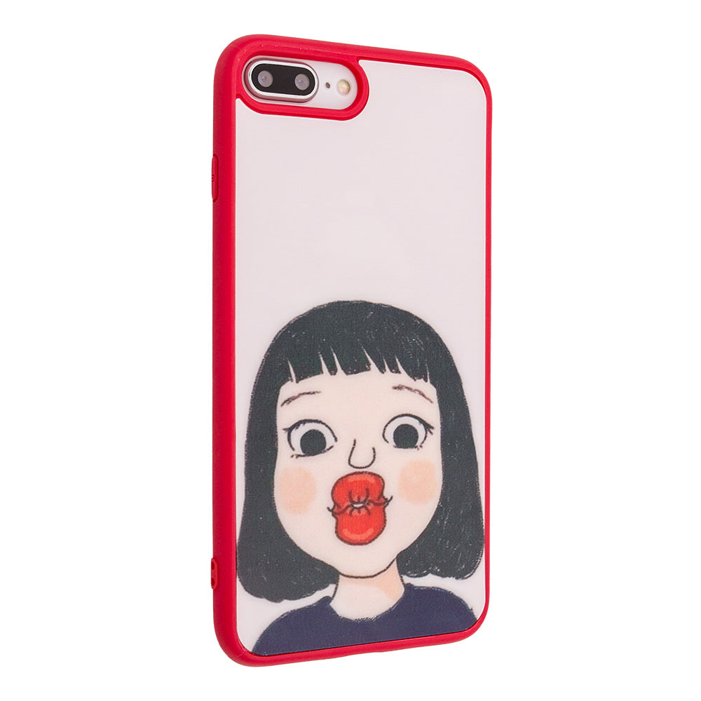 Lovely Cute Girl's Kiss soft TPU Fashion iPhone 8 Case 4.7 inch