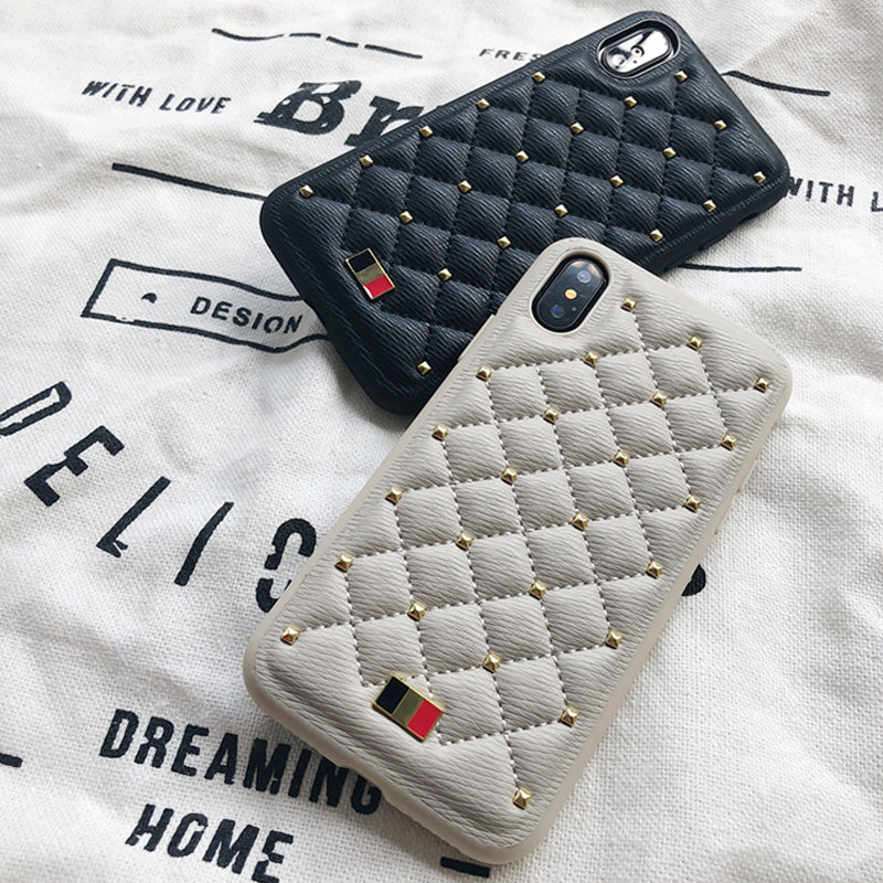 716a0fd1f1be MENTOR® Leather Fashion CHANEL style Stitched Clinch Bolts iPhone XS MAX  Case 6.5