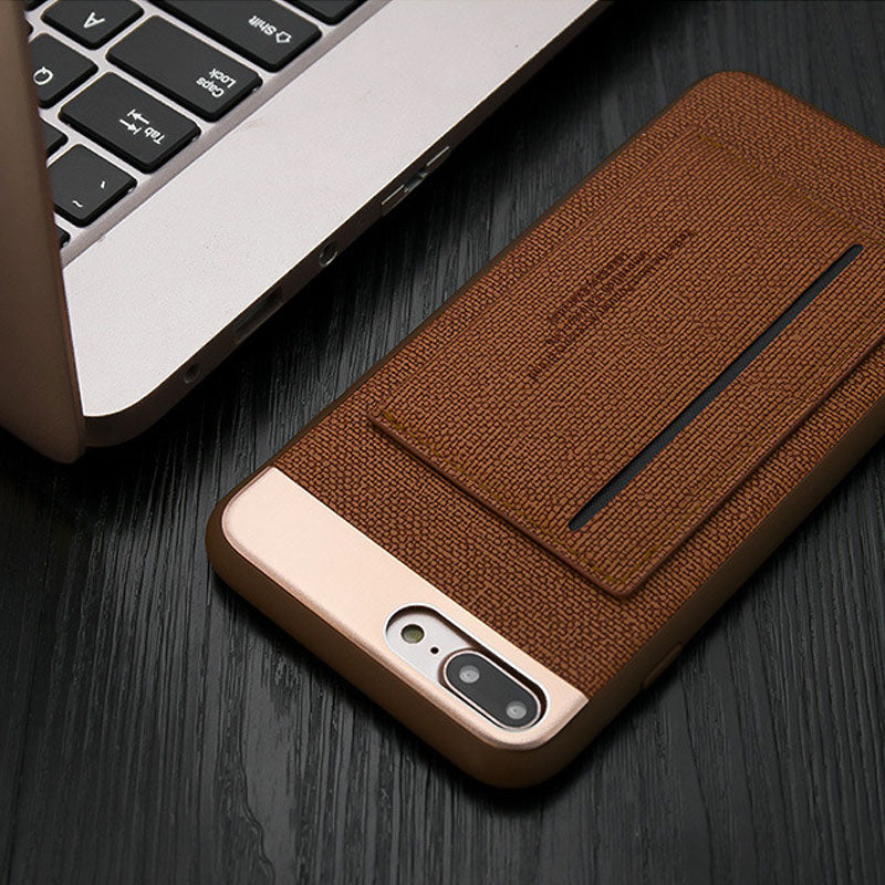 Business style Leather fiber pattern with card slot stand iPhone 7 case cover