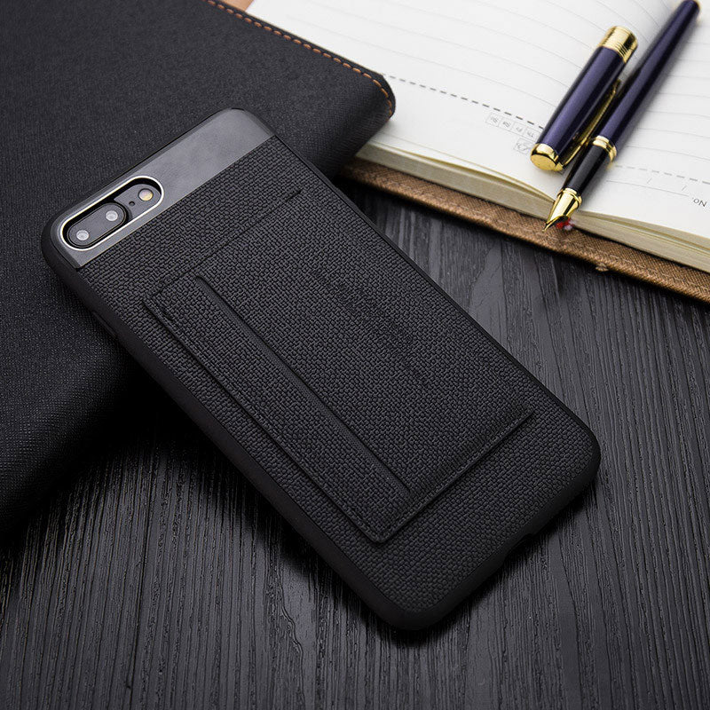 Business style TPU bumper fiber back with card slot and stand ...