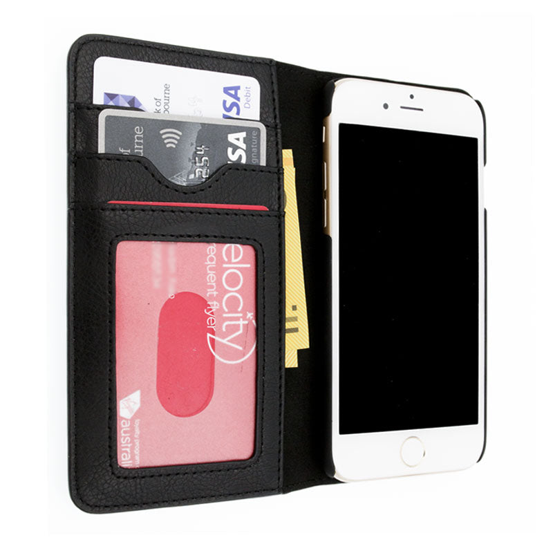 Genuine leather turnable card slots iPhone 8 Plus wallet case