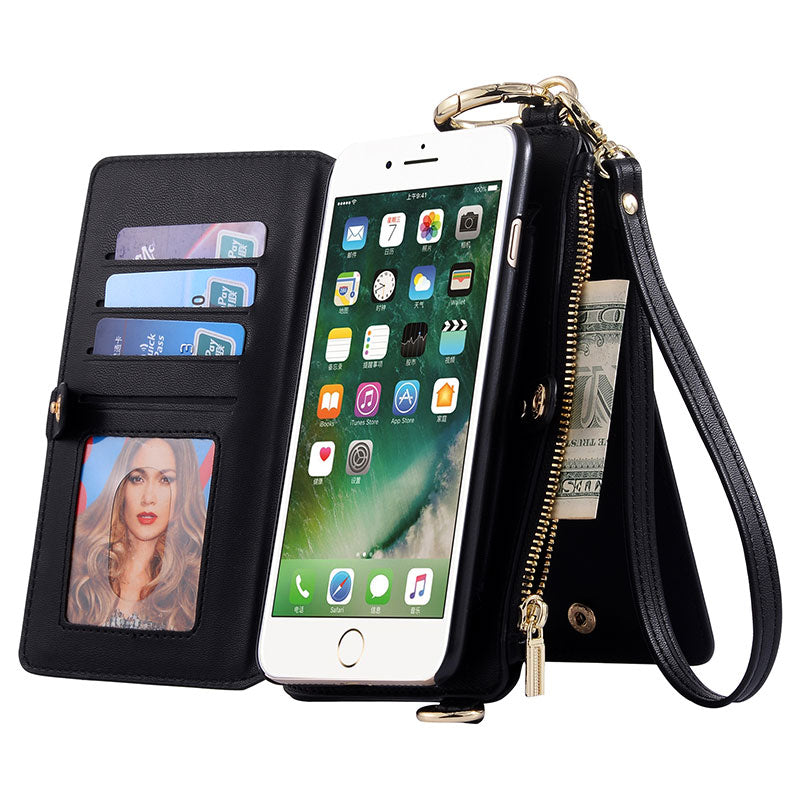 Genuine leather wallet card slots flip hand and shoulder bag iPhone 8 Case